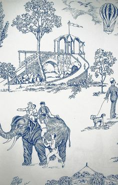 Carnival Toile Wallpaper A lovely carnival scenic wallpaper in blue on white   Love the elephants!...jw