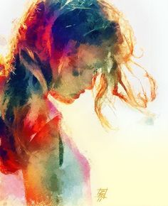 I love sharing works of art that speak to me, depicting the strength and grace of women. This piece is just so very beautiful. Such incredible colors! She looks like she just heard sad news, but somehow I know she is about to take a deep breathe, turn her face to the bright sun and carry on.
