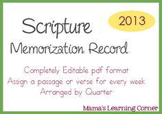 Scripture Memorization Record