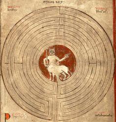labyrinth of the MinotaurLambert of Saint-Omer, Liber Floridus, Saint-Omer 1121. Universiteitsbibliotheek Gent, Hs. 92, fol. 20r