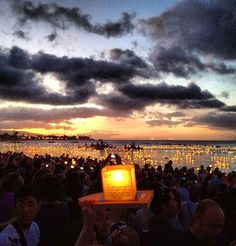 Floating Lanterns on Memorial Day  Ala Moana Beach Park - so very beautiful