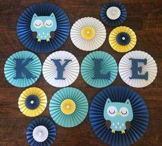 Owl Themed Paper Rosette Fans, Owl Baby Shower Decorations, Owl Birthday Decorations, Owl Themed Backdrop