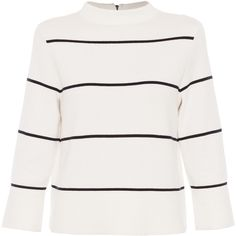 LK Bennett Mara Cream And Navy Striped Mock Neck Sweater (€205) ❤ liked on Polyvore featuring tops, sweaters, shirts, stripes, navy striped sweater, white stripes shirt, striped shirt, navy blue shirt and white striped shirt