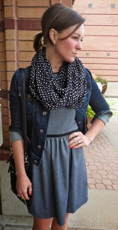 Daily Fashion Flash: Denim and Dots Sleeveless Denim Jackets, Circle Scarf, Body Bag, Daily Fashion, Cross Body, Robin, Style Me, Boutique, Facebook