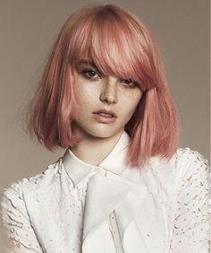 A Medium Blonde straight defined-fringe multi-tonal bob coloured womens haircut hairstyle by Angelo Seminara