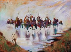 """Out of the Blue"" by Bruce King. #art #fineart #painting #arttovisit #gallery #painter #artist #artalive #lifeofanartist #supportart #santafe #newmexico #canyonroad #okeeffecountry #newmexicotrue #southwest #native #indian #nativeamerican #oneida #riders #horse #horses #caballeros #caballos #impressionism"