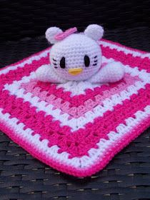 Free, Patroon Hello Kitty knuffeldoekje printable coloring book pages, connect the dot pages and color by numbers pages for kids. Crochet Security Blanket, Baby Security Blanket, Lovey Blanket, Baby Patterns, Crochet Patterns, Crochet Pony, Baby Lovies, Hello Kitty Crochet, Crochet Gifts