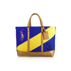 Ralph Lauren Leather Canvas Tote DarkBlue/Yellow all of us need it, Ralph Lauren Leather Canvas Polo Tote .