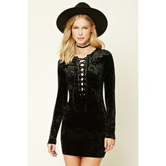 Forever21 Velvet Lace-Up Dress ($20) ❤ liked on Polyvore featuring dresses, black, long sleeve velvet dress, longsleeve dress, long-sleeve velvet dresses, sleeve cocktail dress and velvet cocktail dress