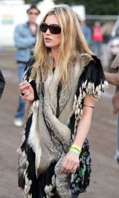Kate Moss looks furry nice at Glasto 2004