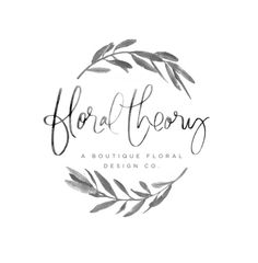 Watercolor Laurel branches floral rece hand script cursive black ink simple feminine design Floral Theory Logo