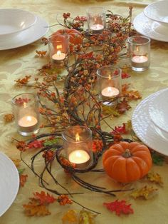 Thanksgiving Table Centerpiece Ideas Pics) on console Thanksgiving Table Settings, Thanksgiving Centerpieces, Thanksgiving Parties, Wedding Table Centerpieces, Holiday Tables, Centerpiece Ideas, Thanksgiving Ideas, Thanksgiving Wedding, Halloween Table Centerpieces