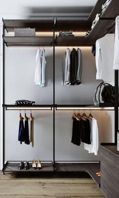 Walk In Closets - Designs & Ideas Wardrobe Room, Wardrobe Design Bedroom, Built In Wardrobe, Closet Bedroom, Walk In Closet Design, Closet Designs, Architecture 3d, Dressing Room Design, Bedroom Cupboards