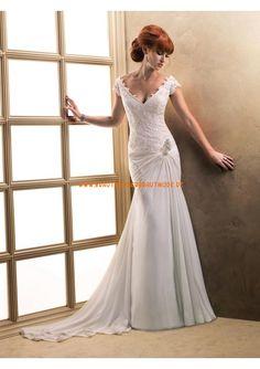 Romantische rückenfreie Brautmode köln kaufen aus Chiffon und Satin mit Applikation