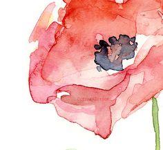 Red Poppy Flower Art Print of Watercolor Painting, Plants, Nature, Poppies Watercolor Poppies, Watercolor Images, Red Poppies, Watercolor Paintings, Abstract Paintings, Watercolours, Flamingo Art, Scrap, Flower Art