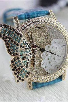 Butterfly jeweled watch