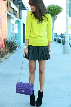 highlighter color...I have those shoes! Never thought about wearing them with the skirt and sweater look...hmmmm