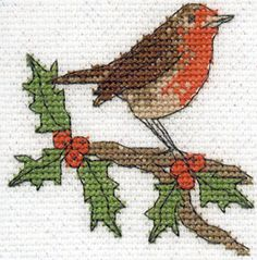 DMC Robin - free pattern for Christmas cards and decorations!