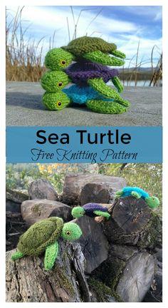 Sea Turtle Free Knitting Pattern #freeknittingpattern #toy