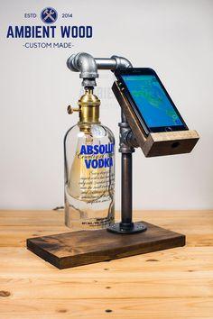 Wood Docking Station Lamp With bottle brass socket Apple watch