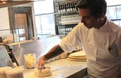 Kid-Friendly Los Angeles Restaurants:    Jeff Mahin demonstrates working with pizza dough at Stella Rossa Pizza Bar.