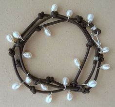 U C Sundance White Pearls ON Brown Leather Cord 925 Sterling Silver Bracelet | eBay