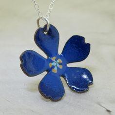 Blue Flower Necklace   glass enameled copper by by KathrynRiechert, $28.00