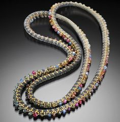 Claire Kahn, Necklace, 2011, crocheted glass beads, sapphire briolette, 38 inches #PurelyInspiration