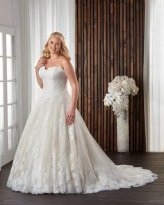 lace and tulle plus size wedding gown