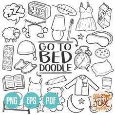 To Bed Sleep God Night Traditional Concept Art Cartoon Doodle Icons Clipart Scrapbook Set Colorin - - Planner Doodles, Bujo Doodles, Bullet Journal Ideas Pages, Bullet Journal Inspiration, Doodle Coloring, Coloring Pages, Sketch Note, Doodle Art Journals, Kawaii Doodles