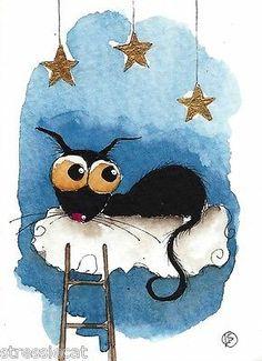 ACEO Original Watercolor Folk Art Illustration Stressie Cat Black Cat Star Cloud | eBay