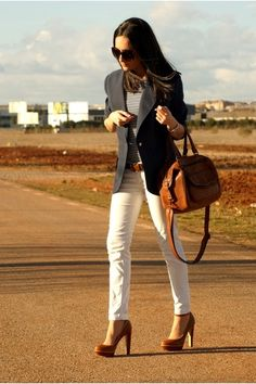 Classic Look ... white jeans, navy blazer, striped top, gold Michael Kors jewelery and chestnut leather accessories