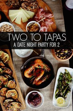 Ideas and recipes for hosting a date night spanish Tapas party at home! Perfect for a romantic evening with your spouse or boyfriend, or make it a party and invite over a few friends. Recipes for grilled eggplant, garlic shrimp, shishito peppers, chorizo in red wine, and more.