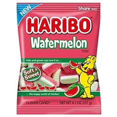 Watermelon Gummies, Sweet Watermelon, Gummi Candy, Fini Tubes, Haribo Gummy Bears, Haribo Sweets, Sour Candy, Biscuits, Bulk Candy