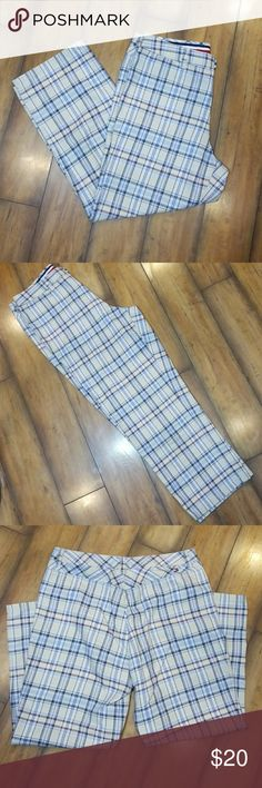 "🦋 Tommy Hilfiger° Jeans Lightweight plaid crop jeans in cream, blue, red & yellow. 11"" rise, 24"" length, 29"" waist. *Tiny light stain on right hip. See pic. Discounted. Tommy Hilfiger Pants Ankle & Cropped"