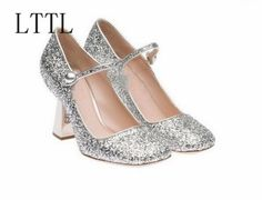 64.00$  Watch now - http://aier2.worlditems.win/all/product.php?id=32800868381 - New fashion vintage thick heels woman shoes bling bling glitter embellished ankle strap high heel shoes Mary Janes shoes