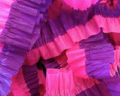Bombay Pink and Purple Ruffled Streamers, 36 ft.