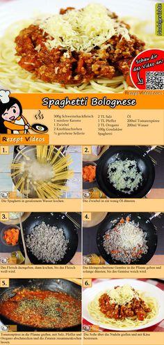 Spaghetti Bolognese Rezept mit Video - Spaghetti Rezept - Yemek Tarifleri - Resimli ve Videolu Yemek Tarifleri Easy Pasta Recipes, Seafood Recipes, Crockpot Recipes, Chicken Recipes, Cooking Recipes, Vegetarian Spaghetti, Spaghetti Squash Recipes, Vegetable Recipes, Vegetarian Recipes