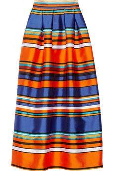 Alberta Ferretti Striped faille maxi skirt | NET-A-PORTER