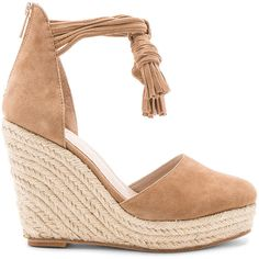 RAYE Dixie Wedge found on Polyvore featuring shoes, sandals, heels, sandales, wedges, suede wedge sandals, ankle strap wedge sandals, ankle strap heel sandals, platform shoes and tassel sandals
