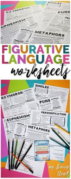 and engaging figurative language worksheets, with definitions, examples and practice exercises.Attractive and engaging figurative language worksheets, with definitions, examples and practice exercises. 6th Grade Ela, 6th Grade Reading, Middle School Reading, Middle School English, Ninth Grade, Seventh Grade, Fourth Grade, Teaching Language Arts, Teaching Writing