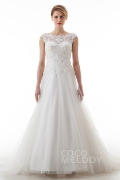 Modern+A-Line+Illusion+Natural+Court+Train+Lace+and+Tulle+Ivory+Cap+Sleeve+Zipper+With+Buttons+Wedding+Dress+with+Appliques+and+Beading+LD4621