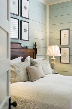 Transform your walls with #shiplap! Use your favorite colors to paint the shiplap boards to brighten any room.