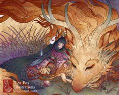 Slumber / Kitsune Fox Girl Yokai Dragon / by TeaFoxIllustrations Fuchs Illustration, Art And Illustration, Illustrations, Fantasy Kunst, Fantasy Art, Fantasy Creatures, Mythical Creatures, Art Fox, Art Asiatique