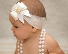 Items similar to White Chiffon & Lace Flower Headband for Baby Girl - Wedding Flower Girl Hair Accessory - White Christening Baby Girl Headband - Newborn Bow on Etsy