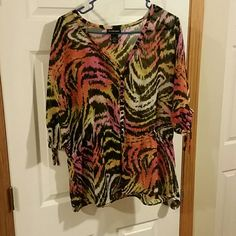 Plus size top Lane Bryant animal print sheer blouse with v-neck Button down With cinched waist. Cinched arms with ties. Lane Bryant Tops Blouses