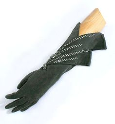 Suede evening gloves studded with rhinestones, c.1939, from the Vintage Textile archives.