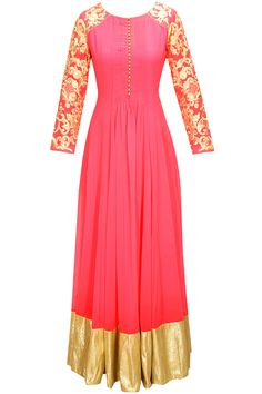 Poppy pink resham and kasab embroidered kurta set available only at Pernia's Pop-Up Shop.