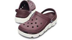 Crocs Adult Duet Sport Clog, Burgundy/White-Men's 6 crocs. $50.00
