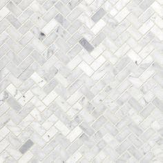 Bianco Carrara Herringbone Marble Mosaic - 12 x 12 - 931100251 - Flooring Decor Decorative Tile Backsplash, Mosaic Backsplash, Mosaic Tiles, Sticky Tile Backsplash, Kitchen Backsplash, Wall Tiles, Kitchen Cabinets, Honed Marble, Marble Mosaic